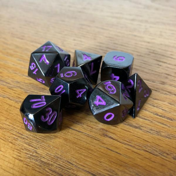 Black with Purple Lettering Metal Dice Set