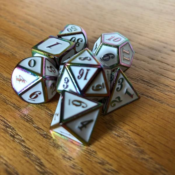 White with Rainbow Iridescent Lettering Metal Dice Set