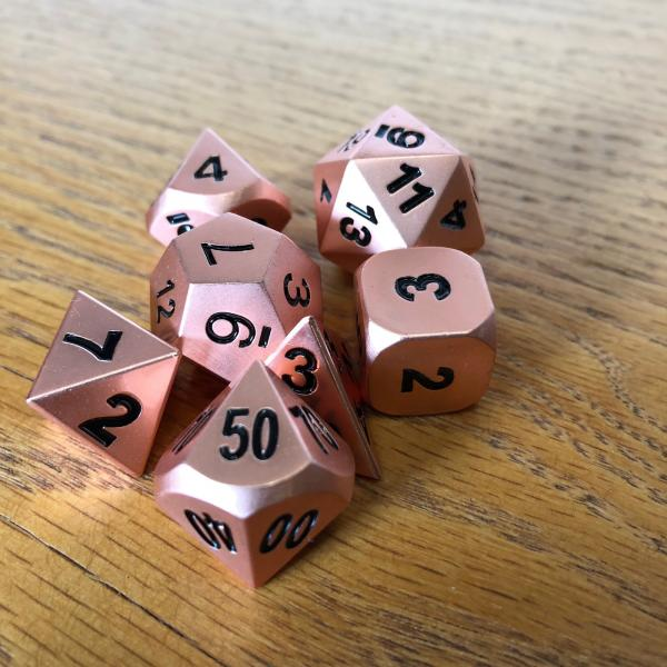 Rose Gold Metal Dice Set