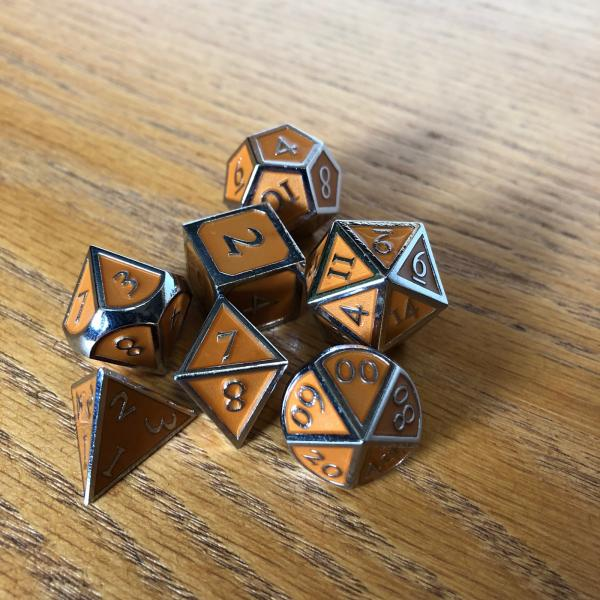Orange with Chrome Lettering Metal Dice Set