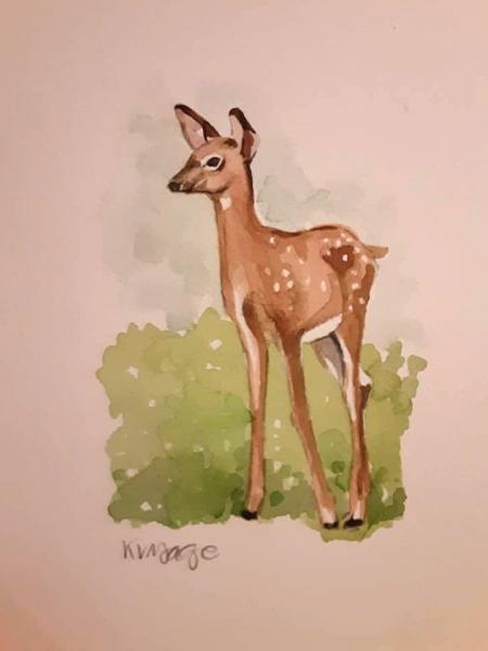 Watercolor Fawn on Paper