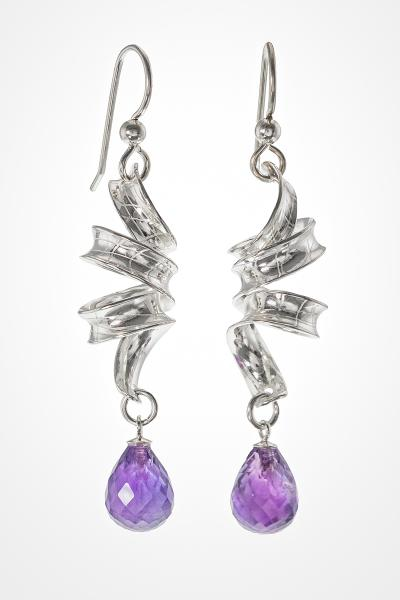 "Sparkling Amethyst Drops Suspended from Sterling Ribbons, Titled ""Wisteria"", Sterling Silver Dangle Earrings picture"