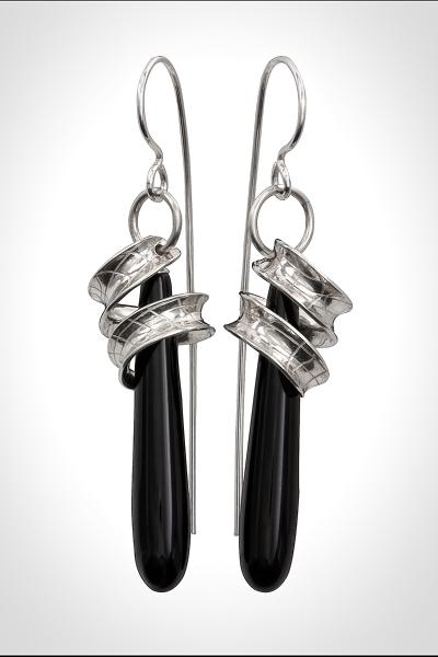 Girls day Out - Argentium Sterling Ribbons suspended over Long Black Onyx Drops, Long Dangle Silver Earrings