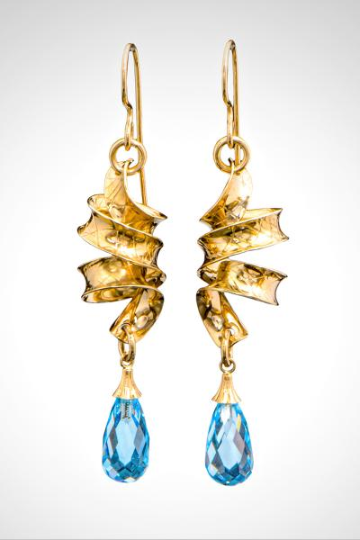 Solid 14k Gold Handmade French Wire Earrings with Sparkling Blue Topaz Briolettes Suspended from Textured Ribbons