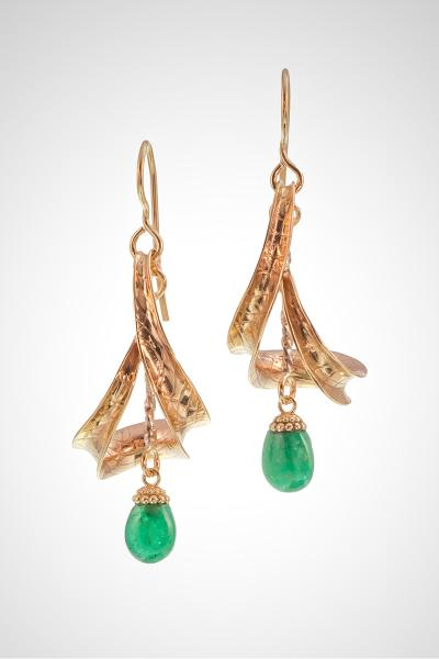 Gold and Emerald Drop Earrings