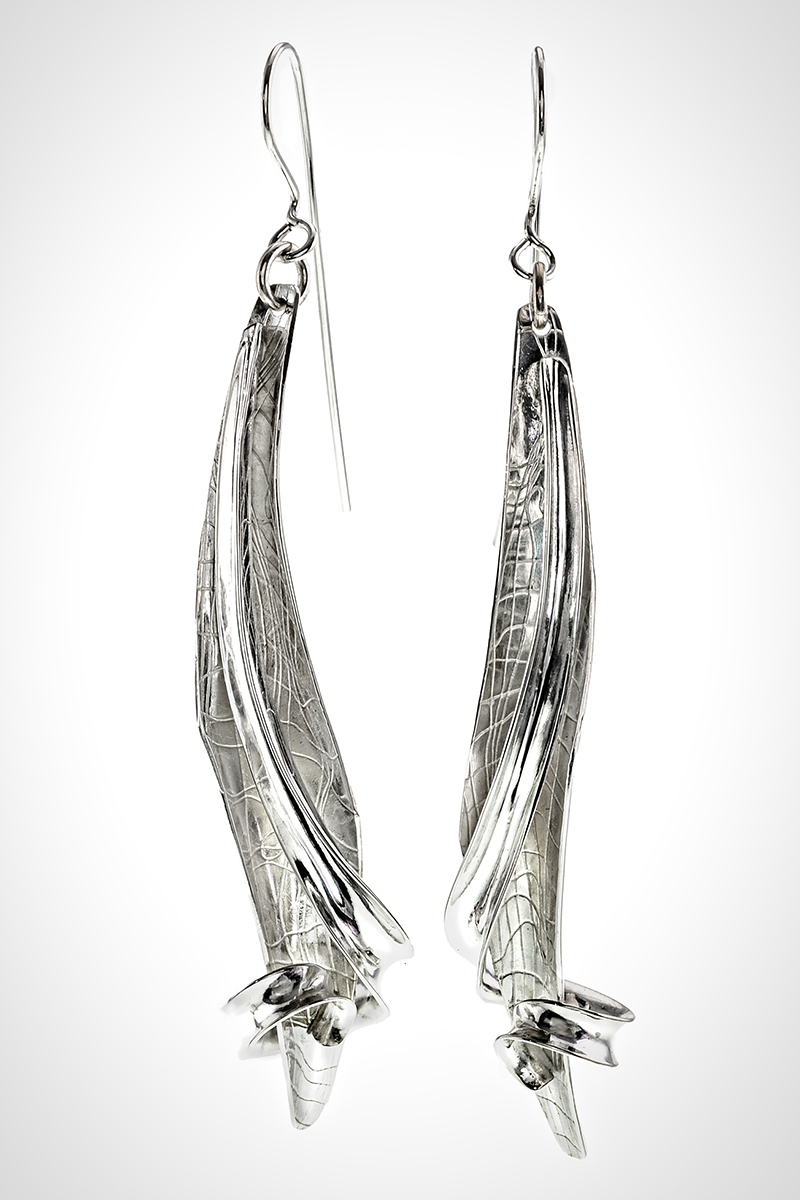 Sterling Leaf and Tendril Silver French Wire Dangle Earrings,
