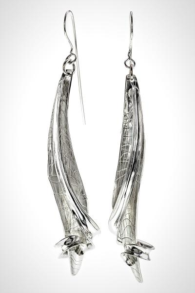 "Long Silver French Wire Earrings, Textured Leaves with High Polished Tendril over the Top ""Water Song"""