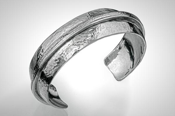 Mens Cuff or Womens Cuff, Simple Silver Hammered Cuff with Textured Band through the Center
