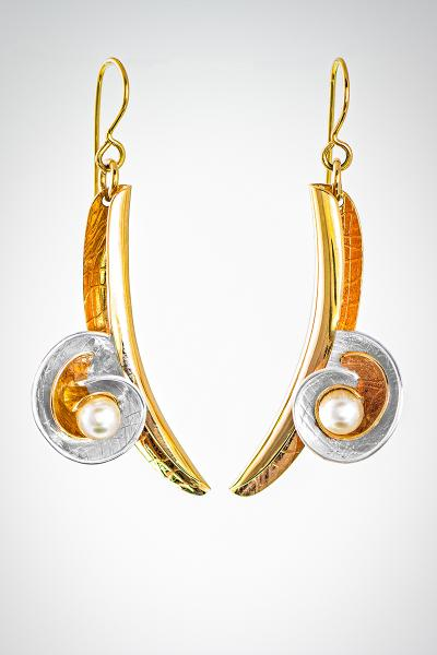 "Sweeping Gold and Pearl French Wire Earrings- ""Shells and Pearls"""