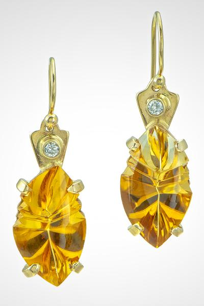 "14k gold French Wire Earrings and Hand Carved Citrine Stones, ""Citrine Fantasy"""