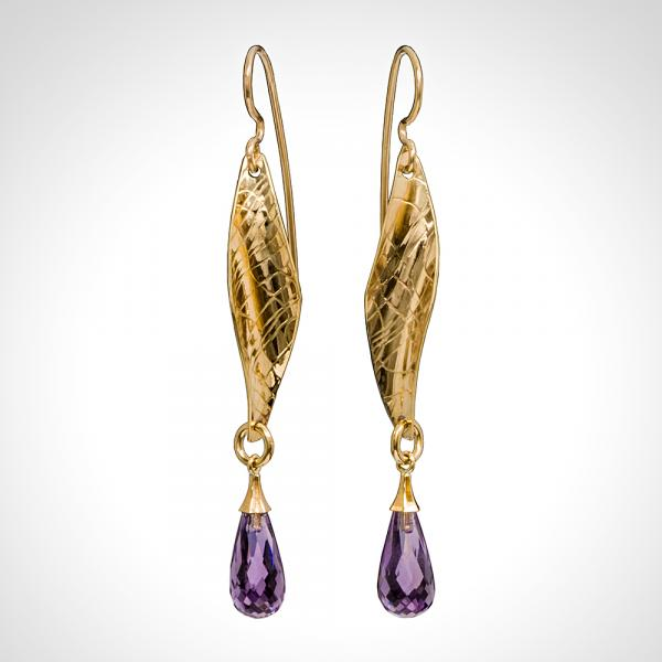 Long 14k Yellow Gold Textured Amethyst Briolette Drop Earrings