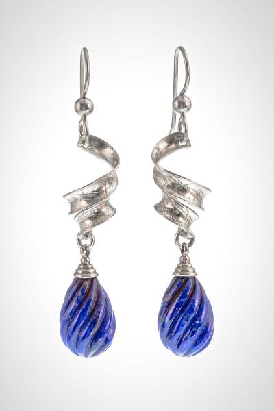 "Silver Earrings with Carved  Lapis Drops, ""Yummy Lapis"""