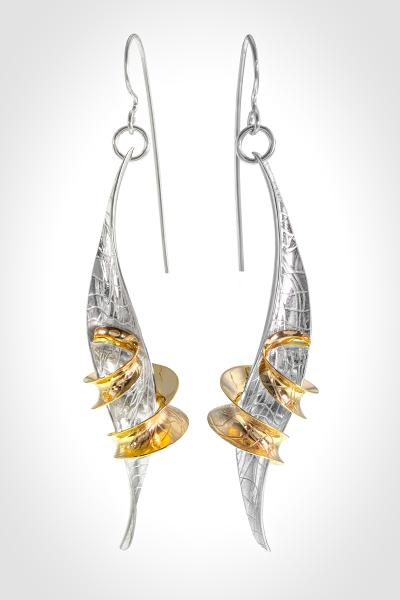 """Tropical Vacation"" 14k Gold and Silver Earrings"