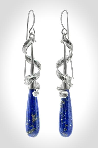Lapis Lovers!  Long Lapis Drop Sterling Silver French Wire Earrings Draped in Textured Silver Ribbons picture
