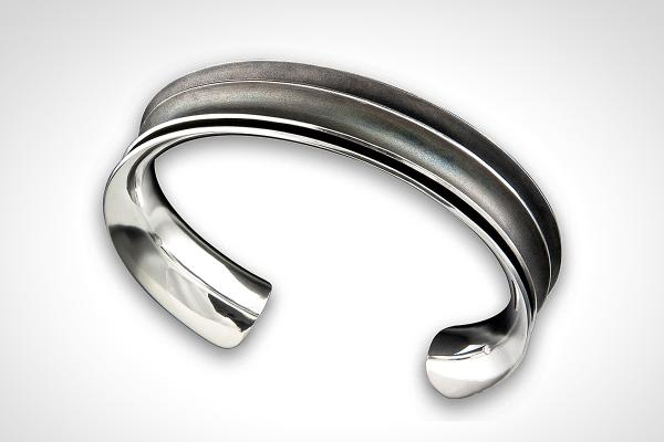 MENs Dark Patinated Anticlastic Double Cuff, Minimal, Sophisticated Sterling Bracelet