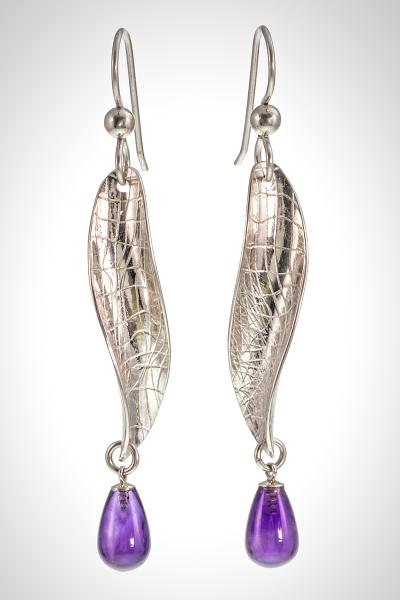 """Petal Drops"" Med Silver Earrings with Amethyst Drops"