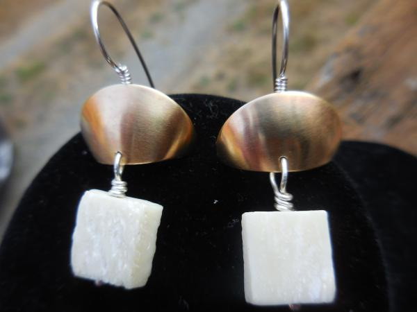 Brass half domes with sterling silver ear wires and hand carved bone beads LY E 7741