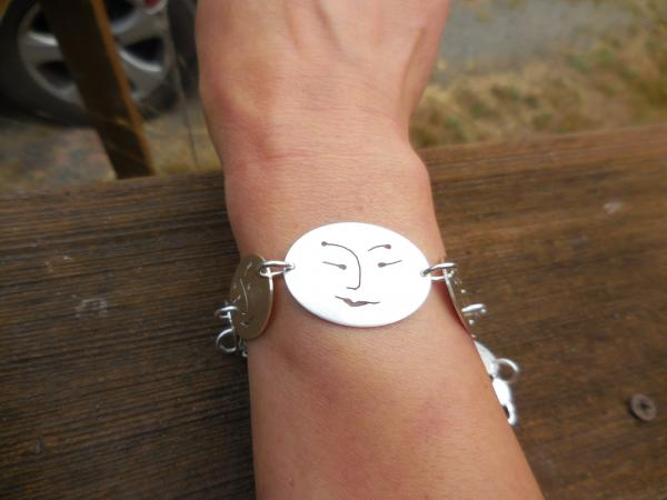 Six oval face bracelet in sterling silver with pearl LY E 1904 picture