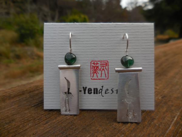 Crane earrings in sterling silver with green tourmaline LY E 7715