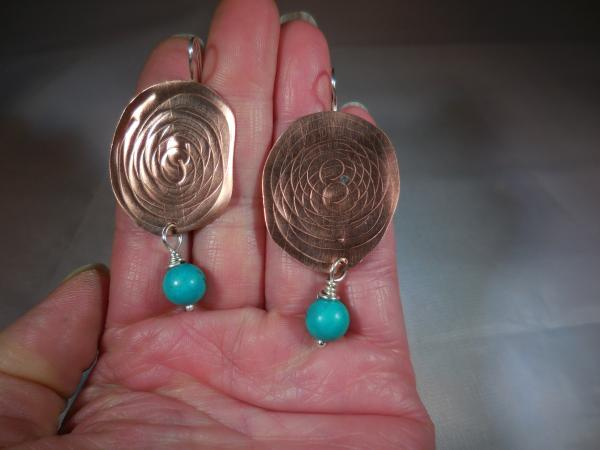 Copper with spiral pattern, sterling silver ear wires and turquoise drops LY E 7658