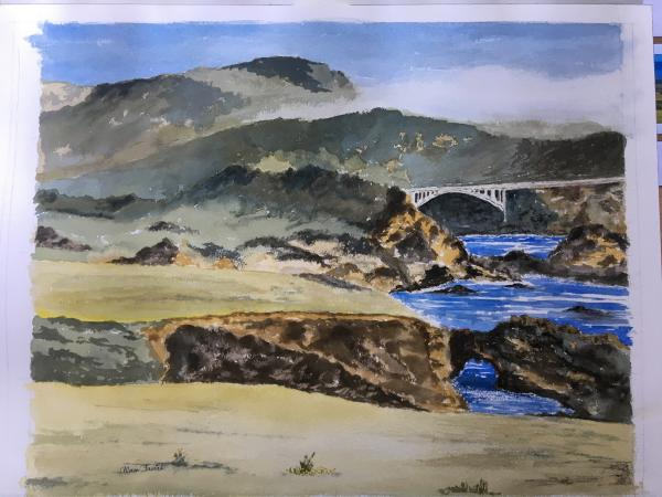Big Sur, California.  Diptych painting.