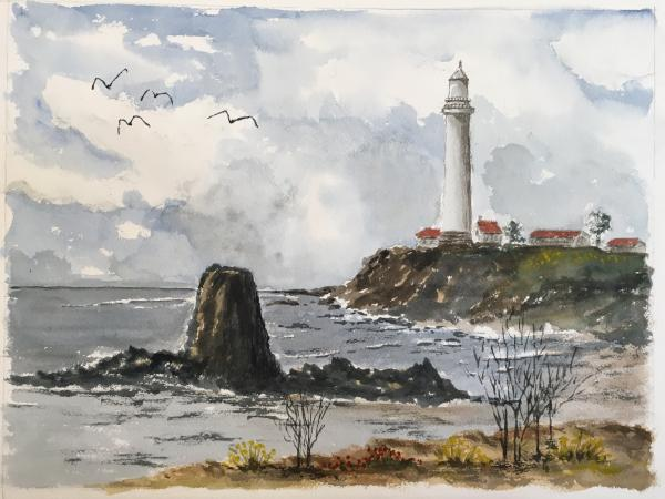 Pigeon Point Lighthouse watercolor - Wooden Tray