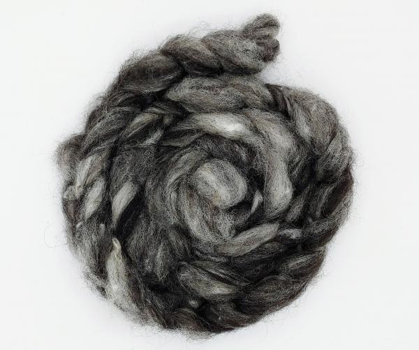 """Snow Leopard"" Finnsheep/Alpaca Blend Roving - sold by the ounce"