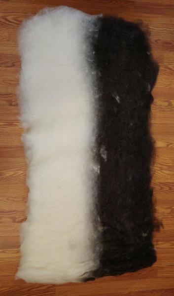 8oz Superfine Black and White Finnsheep and Alpaca Batt