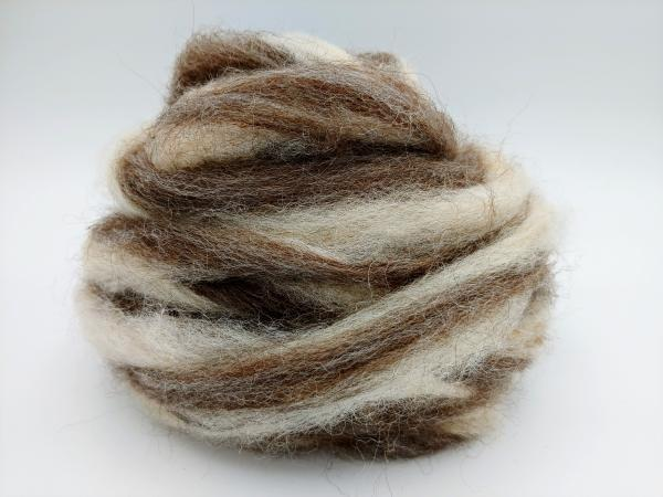 Medium Grey and Rose Grey Alpaca Blend Roving - sold by the ounce