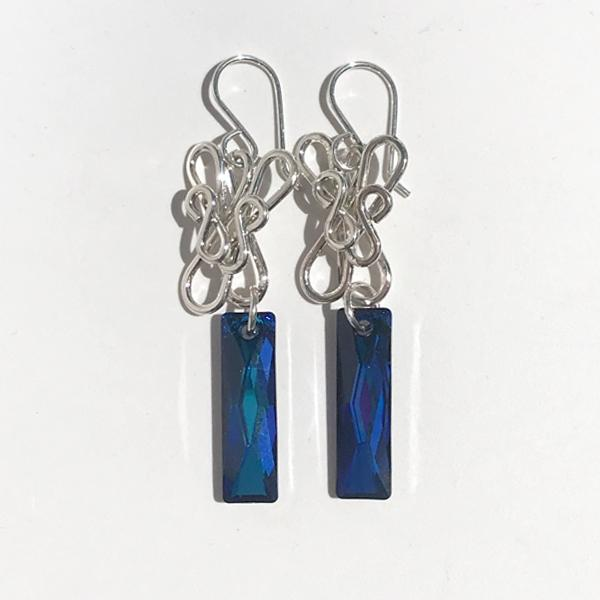 One of a Kind Sculpted Sterling Earrings - Blue Swarovski