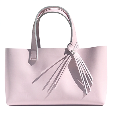 Pretty Pink Long Leather Tote 68 – 2 Swarovski Fringe Design