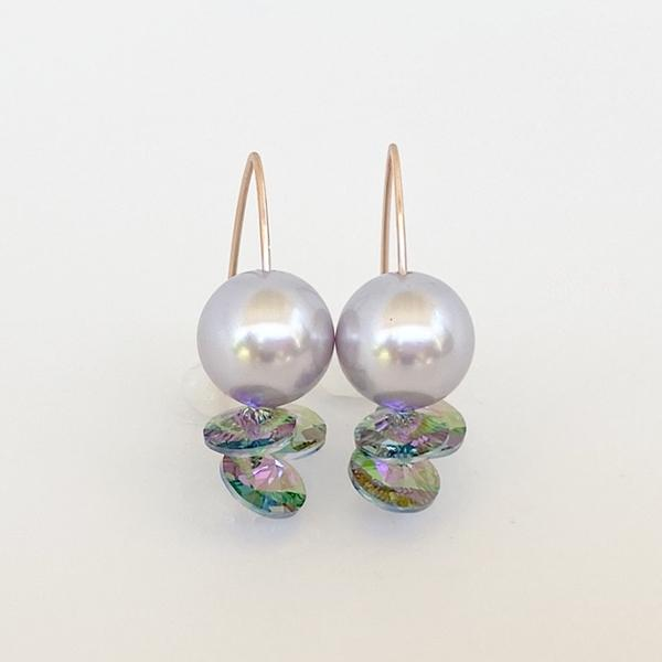 Pearl 14k Rose Earrings - Swarovski Cluster