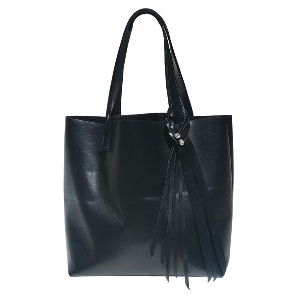 Italian Leather Tote Bag - Swarovski Crystals