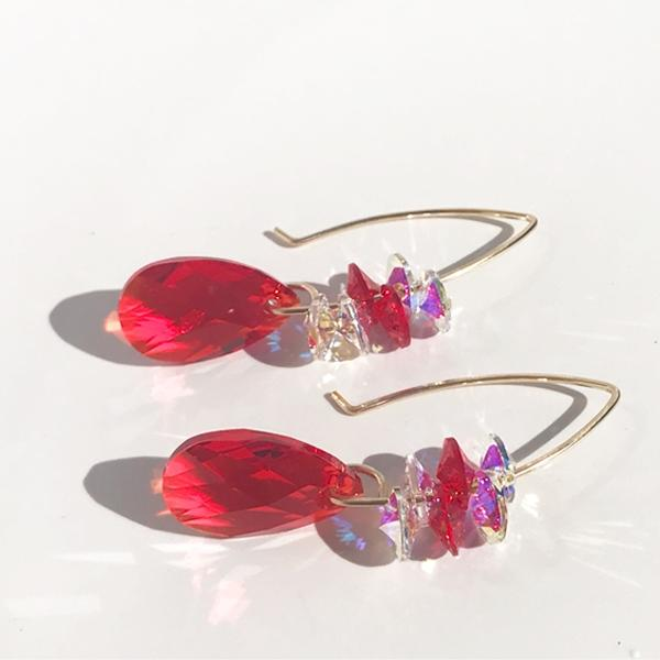 Versatile Holiday Goddess Bent Hoop Earrings - Swarovski Cluster (sterling or 14k gold)