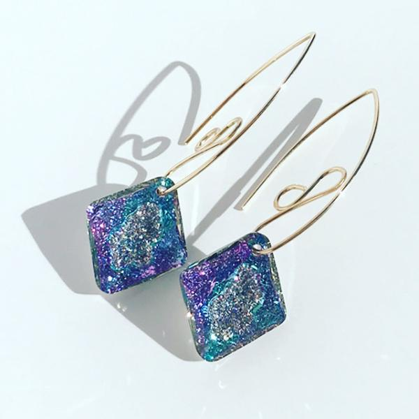 4 Color Options - Lavish Goddess Bent Hoop 14k Earrings - Swarovski