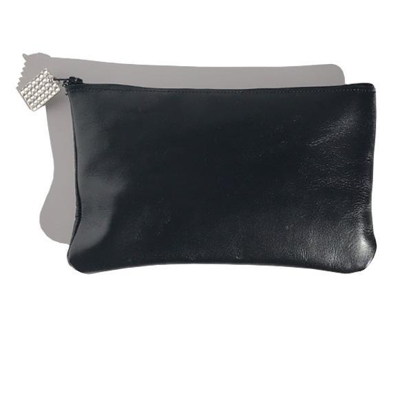 Monique Clutch – Black Italian Leather Featuring 34 Clear Swarovski Crystals