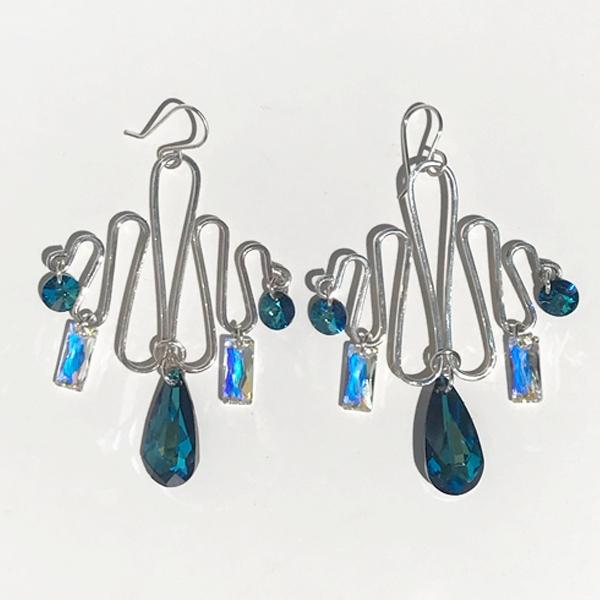 Sterling Sculpted Goddess Chandelier Earrings - Multi Swarovski