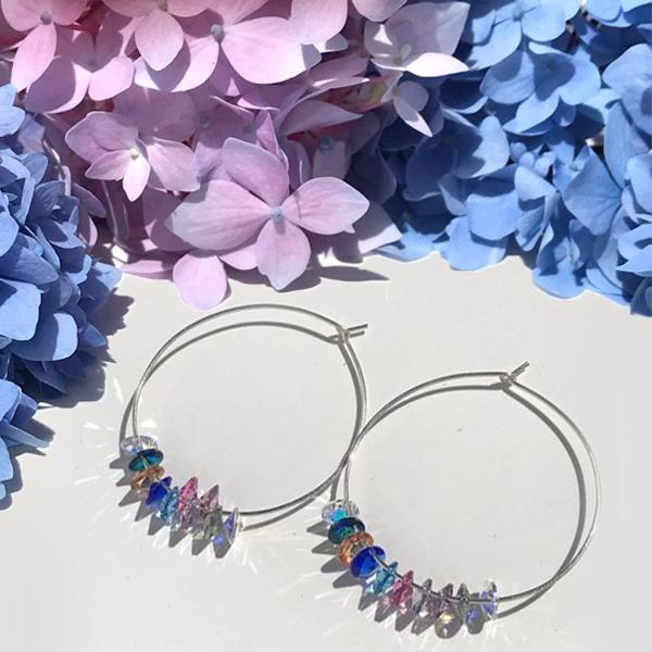 Versatile Sterling Rainbow Hoop Earrings - Big Swarovski Cluster