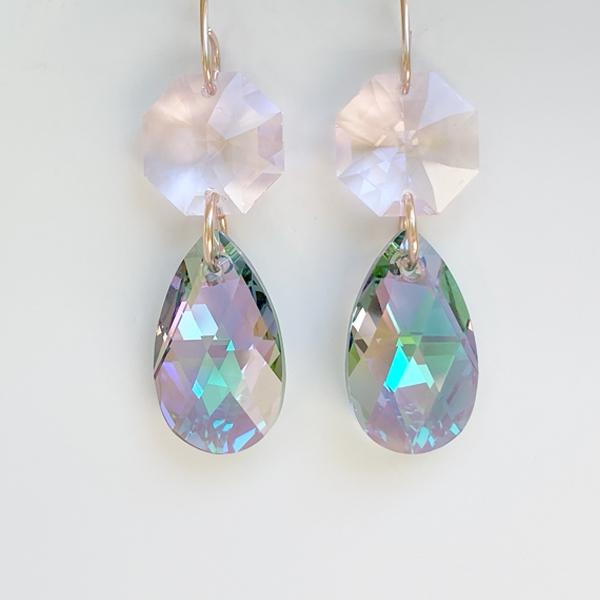 14k Rose Gold Regal Chandelier Drops - Purple & Pink Swarovski
