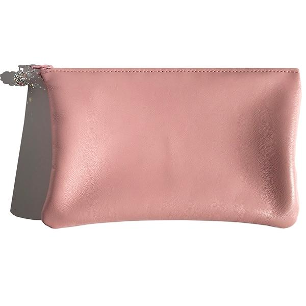 Monique Clutch – Soft Pink Lambskin Leather Featuring Pavé Swarovski
