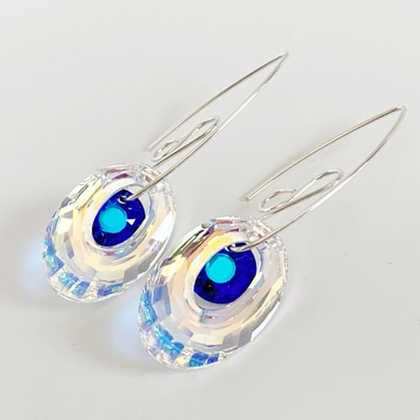 Versatile Peacock Eye Sterling Goddess Bent Hoops -Swarovski