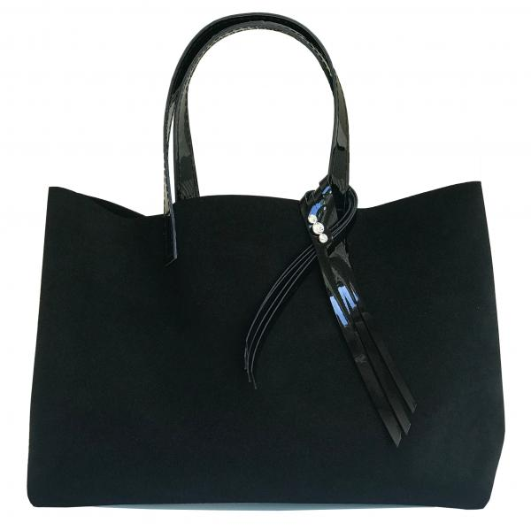 Large Satin Suede Tote Bag 70 – 3 Swarovski + Matching Pouch