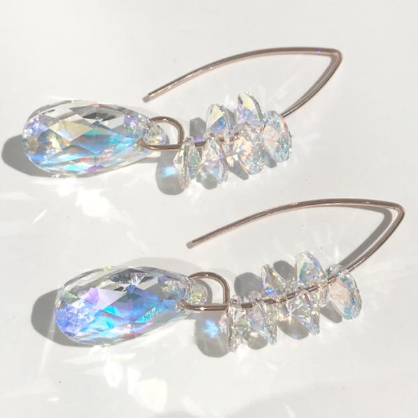 Sterling or 14k Gold - Versatile Iridescent Goddess Bent Hoop Earrings - Swarovski Cluster