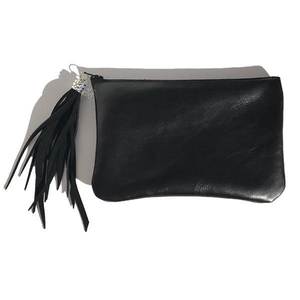 Italian Leather Clutch – Fringe with Swarovski Crystals