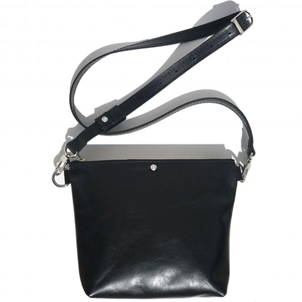 Black Italian Square Leather Crossbody Bag – Swarovski (Bag 60)