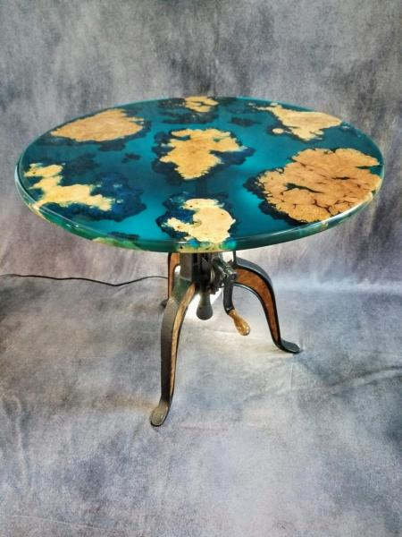 Ocean Crank Table With Maple Burl Islands