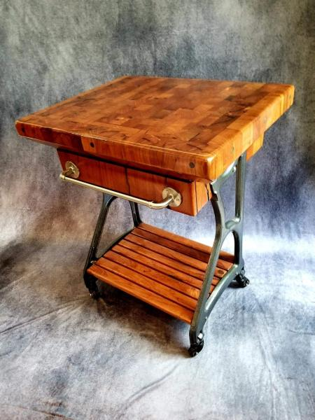 Mesquite Butcher Block Island Cart