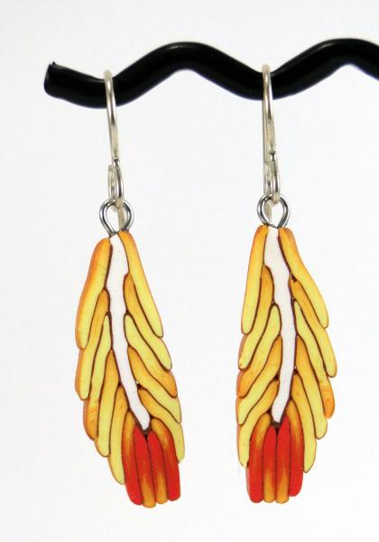 Yellow and Orange Feather Earrings