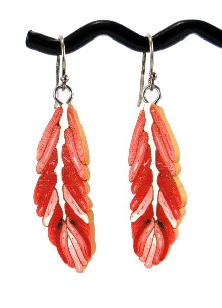 Red and White Feather Earrings
