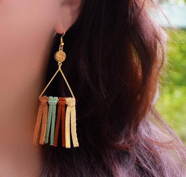 Triangle Tassel Earrings - green variety with gold druzy